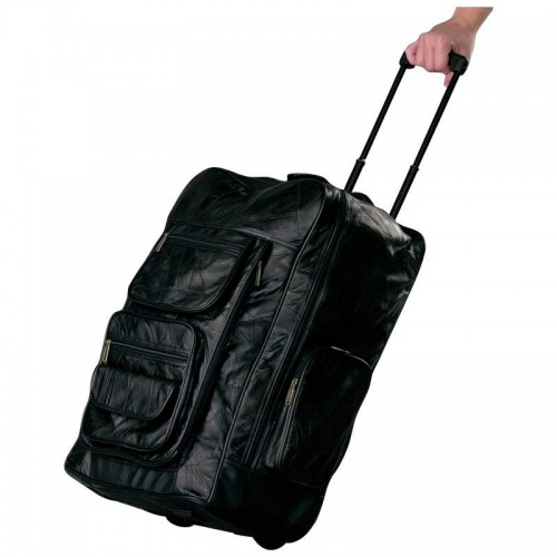 """Embassy Leather Super-Deluxe 23"""" Trolley/Backpack with Saddlebags"""