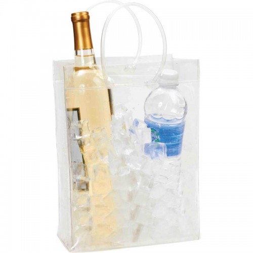 Transparent Wine and Beverage Ice Chest with Elastic Handles