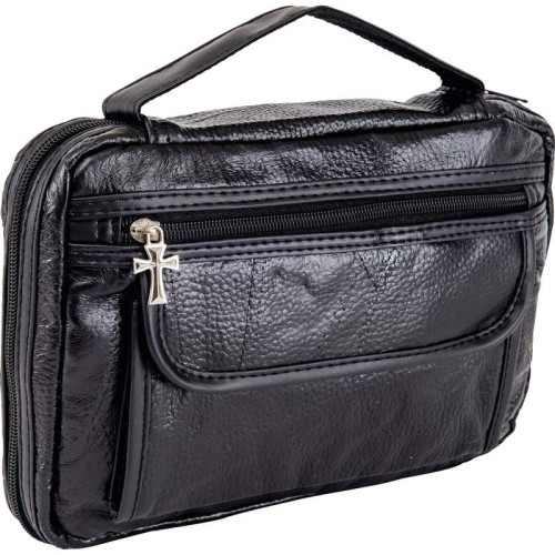 Black Leather Bible Cover with Pockets and Pen Holder
