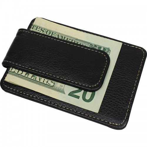 Magnetic Money Clip Wallet with Business and Credit Card Pockets