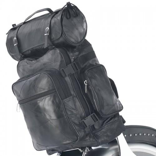 Diamond Plate 3pc Rock Design Black Buffalo Leather Motorcycle Bag Set
