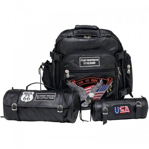 3 PC Rock Design Genuine Buffalo Leather Motorcycle Bag Set