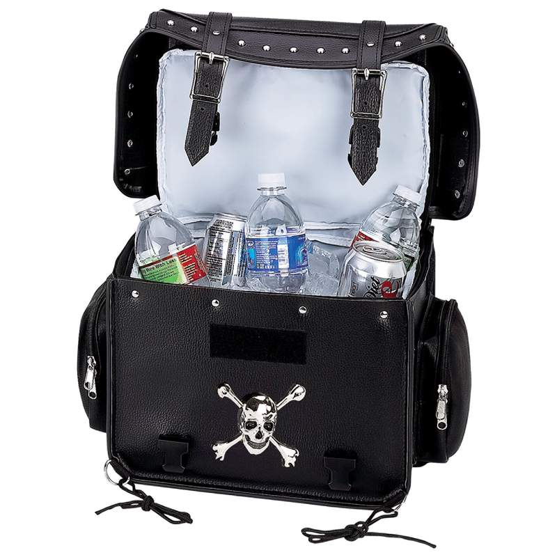 Diamond Plate Black Motorcycle Trunk Cooler Bag With Skull