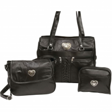 fed62c1bf3e8 Buy Embassy 3pc Genuine Leather Purse Set with Heart Medallions in Bulk