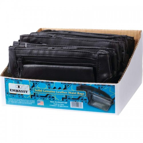 12 PC Solid Genuine Leather Waist Bags in Counter Top Display