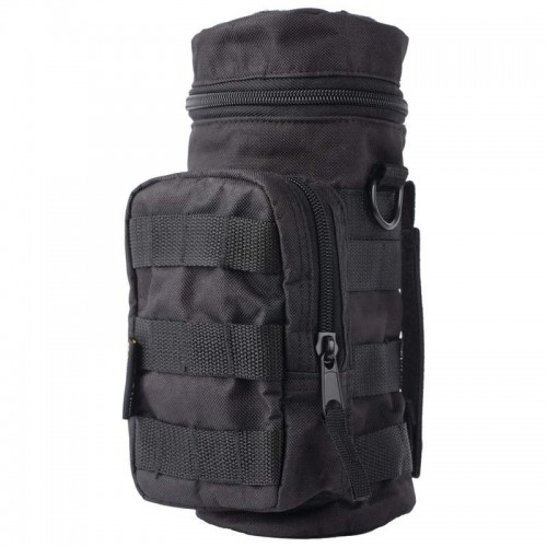 Extreme Pak 600D Black Polyester Water Bottle Molle Pouch