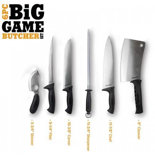 Big Game Butcher Set with Satin Finish Blades Comfort Grip Handles
