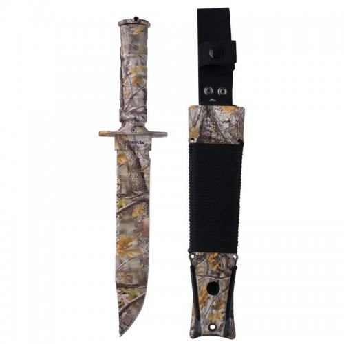 "Camouflage Survival Knife with Aluminum Handle Measures 7-3/4"" with Blade"