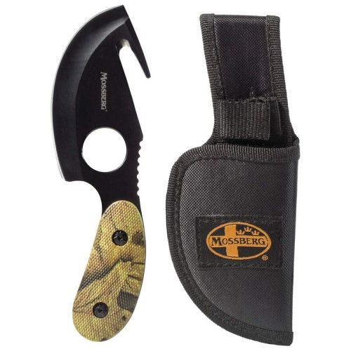 Fixed Blade Skinning Knife with Gut Hook and Camouflage Handle