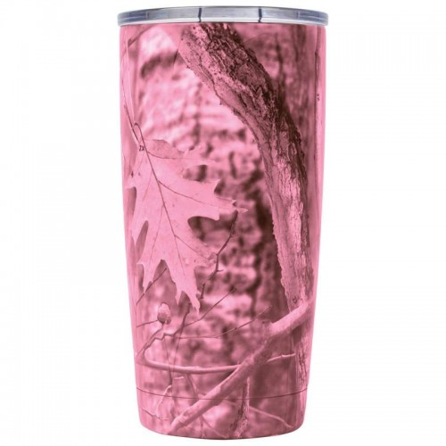 20 oz Pink Camouflage Double Wall Insulated Tumbler With Lid