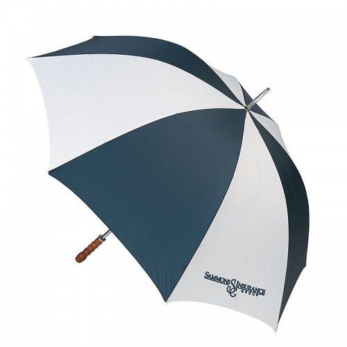 "All-Weather 60"" Navy and White Golf Umbrella with Screen Print"