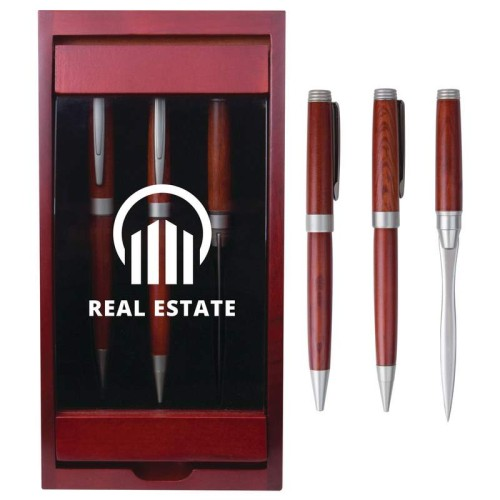 3pc Pen, Pencil and Letter Opener in a Wood Case with Engraving