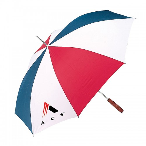 "All-Weather 48"" Auto-Open Red/White/Blue Umbrella with Imprint"