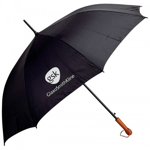 """60"""" Black Auto-Open Golf Umbrella with Wood Handle and Screen Print"""