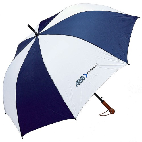 "All-Weather Navy/White 60"" Auto-Open Golf Umbrella with Imprint"