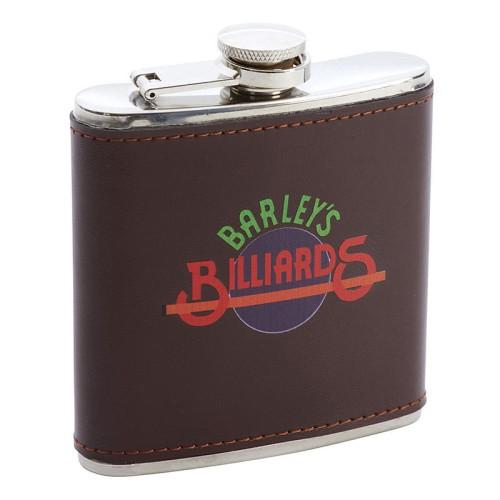 6oz Brown Leather Wrap Flask with Custom Pad or Digital Print