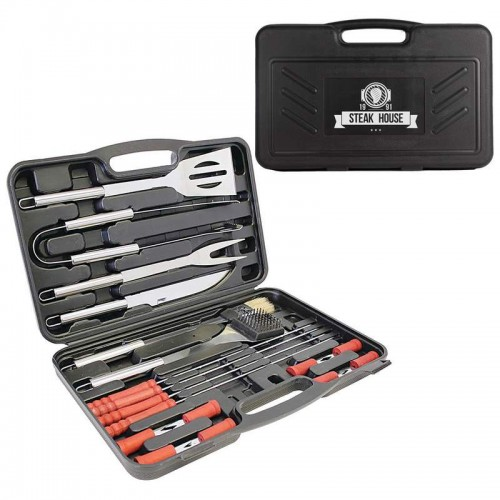 19 PC Stainless Steel Barbeque Tool Set with Screen Print on Case