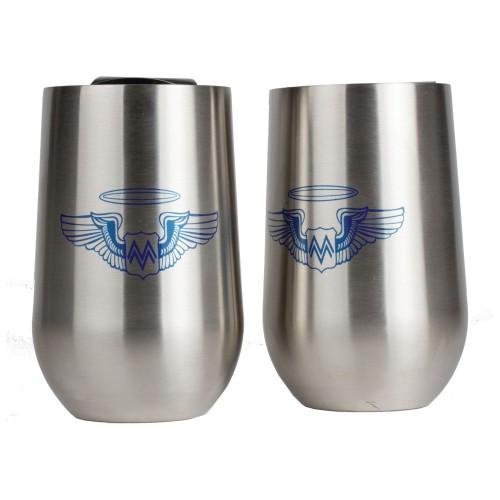 2 PC 16 oz Stainless Steel Wine Glass with Custom Screen Print