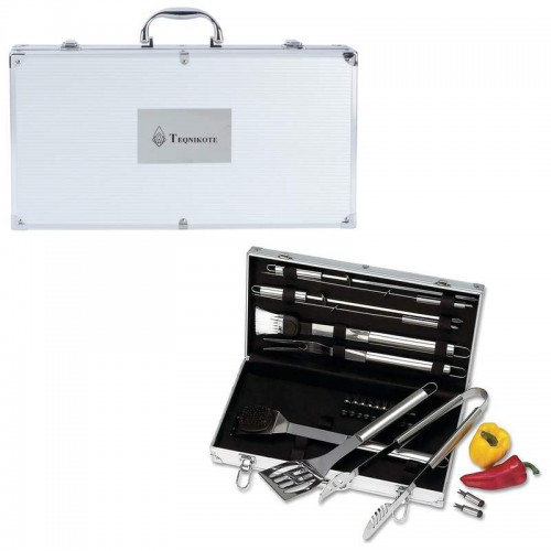 Chefmaster 22pc Stainless Steel Barbeque Tool Set with Print on Case