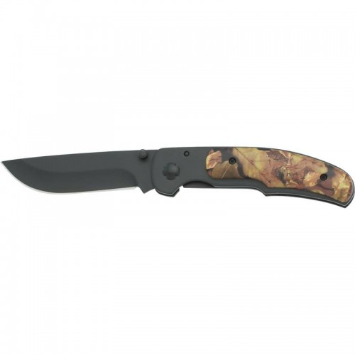 Maxam Camouflage Leymar Handle Liner Lock Knife with Belt Clip