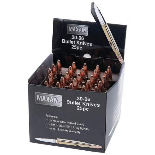 Maxam 25pc Gold-Tone Bullet Shaped Knives in Countertop Display