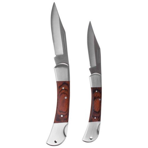 Maxam 3pc Knife Set with Laminated Wood Handles in Storage Box