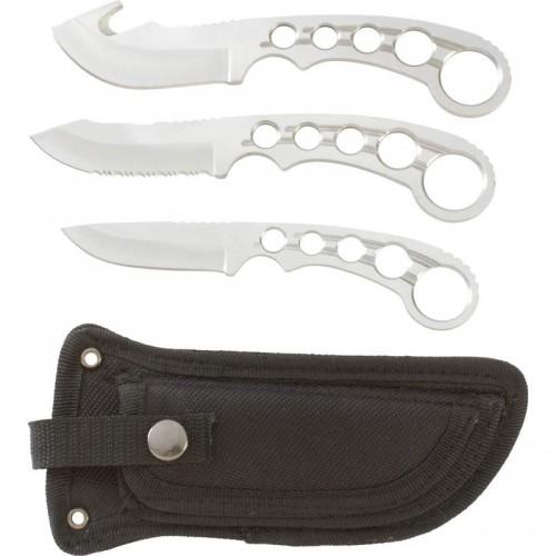 Maxam 4pc Field Dress Stainless Steel Knife Set with Nylon Sheath