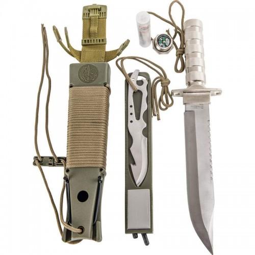 Maxam 12pc Survival Knife Set Features Zinc Alloy Storage Handle
