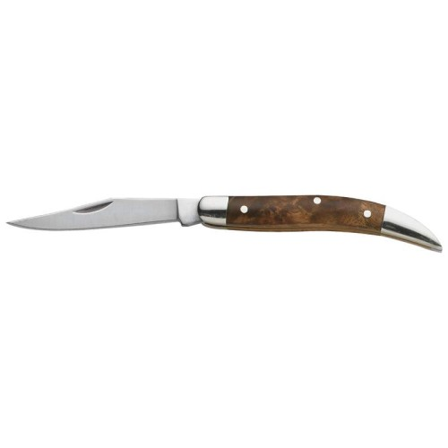 Maxam Toothpick Pocket Knife with Brass Liners and Wood Handle