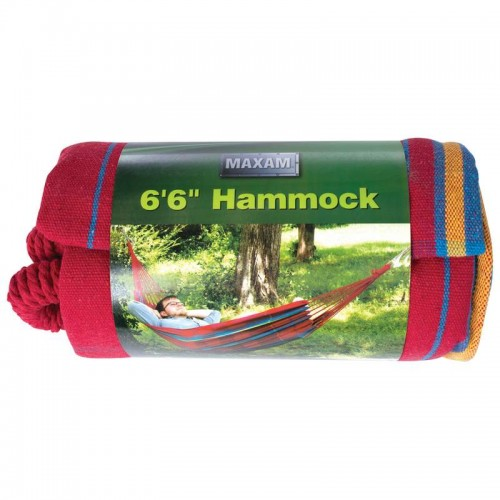 "Cotton/Poly 6'6"" Hammock Weight Capacity 220 lbs (Random Colors)"