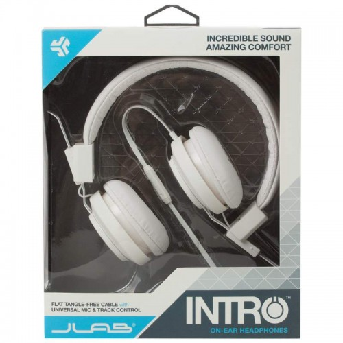 On-Ear Headphones with Tangle-Free Cable and Universal Microphone