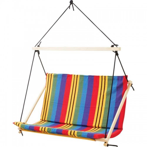 Club Fun Double-Wide Cotton and Polyester Hanging Rope Chair