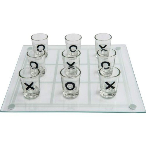 Maxam Shot Glass Tic-Tac-Toe Game with Glass Game Board