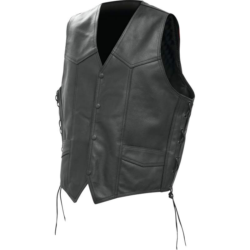 Solid Buffalo Leather Vest with Pockets and Laced Sides 2X