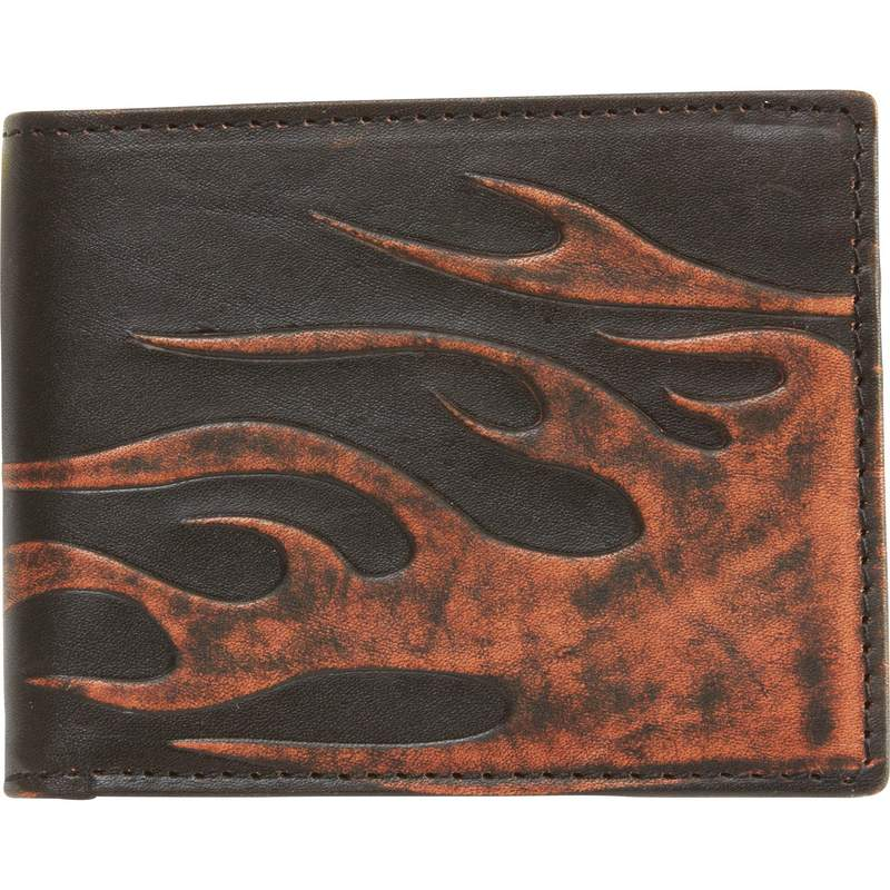 Solid Genuine Leather Biker Wallet with Embossed Flame Design