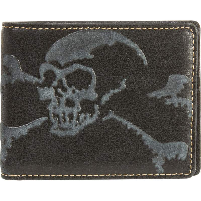 Solid Genuine Leather Biker Wallet with Embossed Skull Design