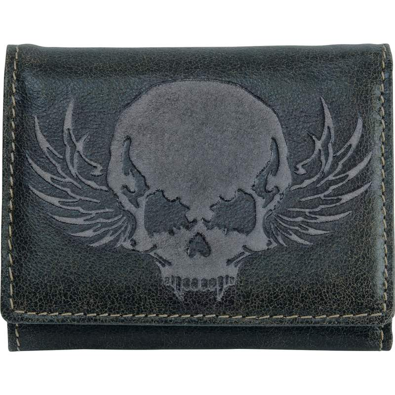Black Solid Leather Tri Fold Wallet With Embossed Skull Design