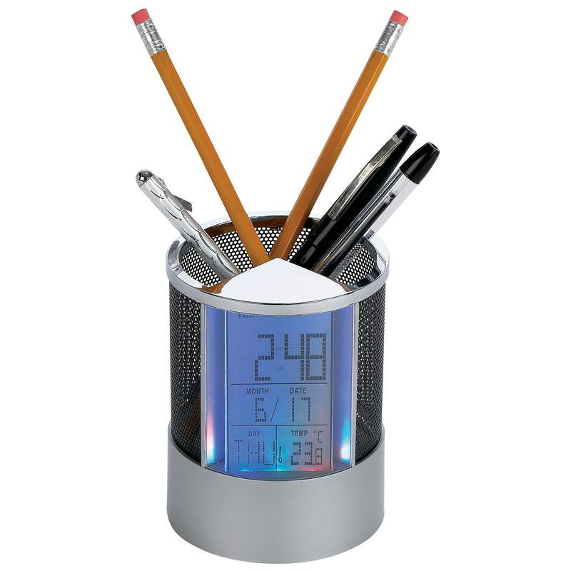 Mitaki Japan Pen Holder Clock with Alarm and Colored LED Lights