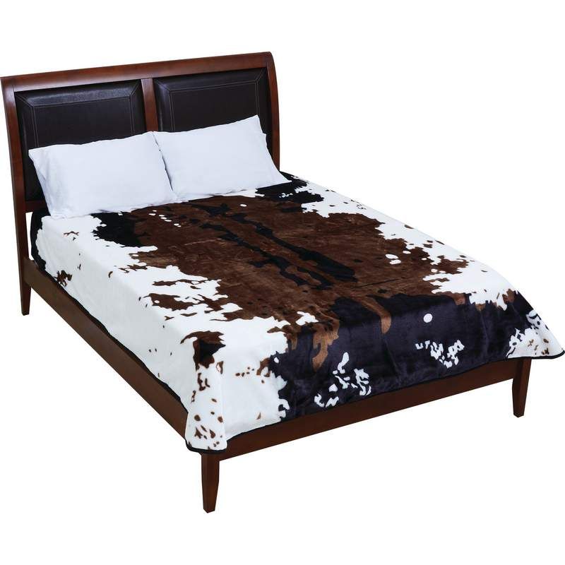 Wyndham House Cow Print Polyester Blanket Fits Queen or King Bed