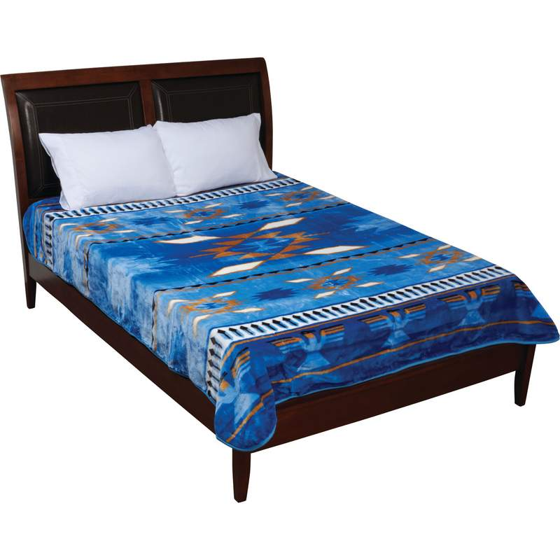 Wyndham House Blue Native American Blanket Fits Queen or King Bed