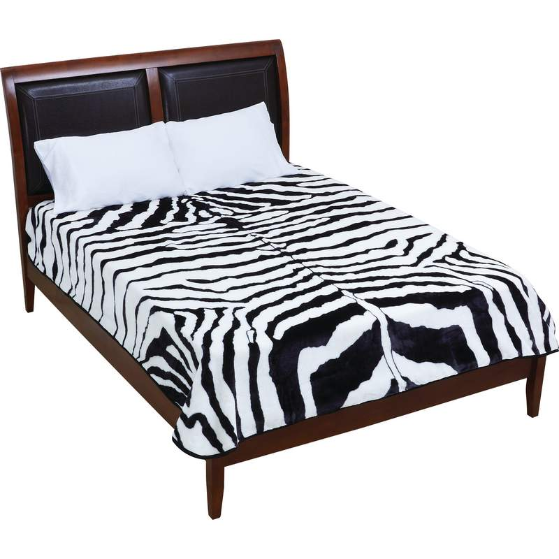 Zebra Print 100% Polyester Blanket Fits Queen or King Bed