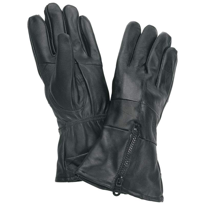 Diamond Plate Black Solid Leather Gloves with Insulation Size L