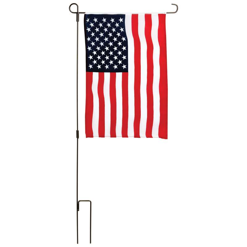 USA Garden 100 Polyester Flag Kit with Iron Garden Flag Pole