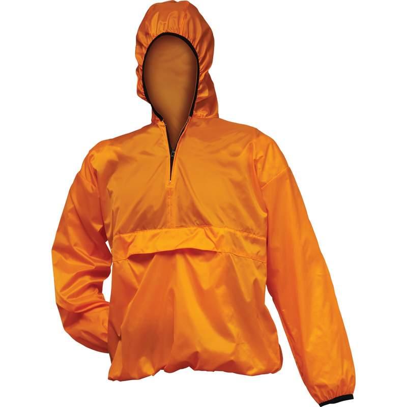 All Weather Pull Over Orange Nylon Rain Jacket Size Large