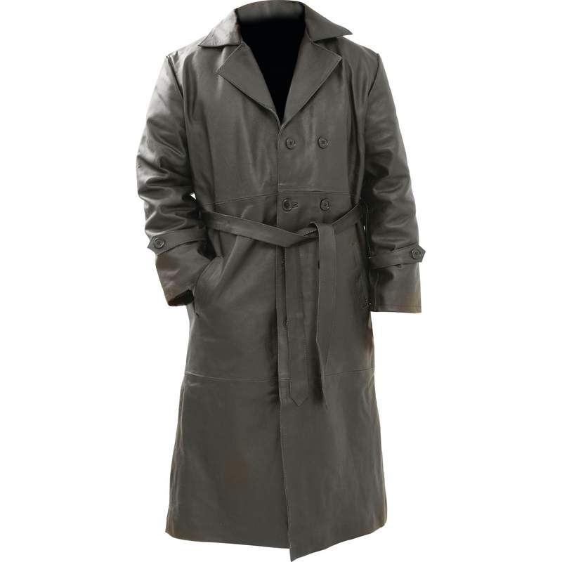 Solid Buffalo Leather Trench Coat with Interior Pocket Large