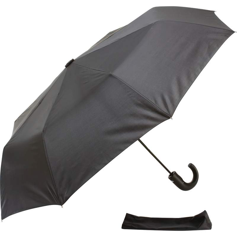 "All Weather Black 42"" Tri Fold Umbrella With J Hook Handle"