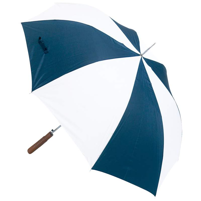 "All Weather 48"" Auto Open Navy And White Umbrella"