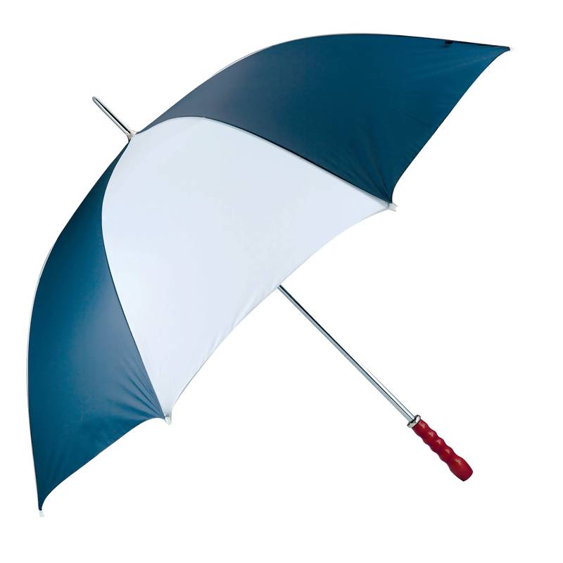 "All Weather 60"" Navy And White Golf Umbrella With Wooden Handle"