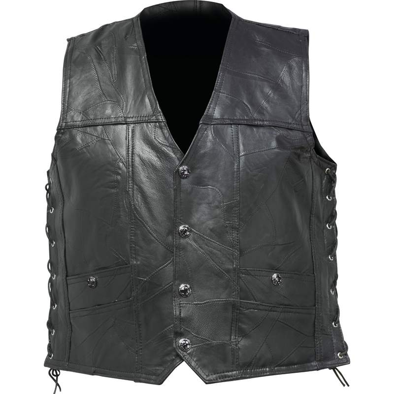 Buffalo Leather Concealed Carry Vest With Lace Up Sides 2x