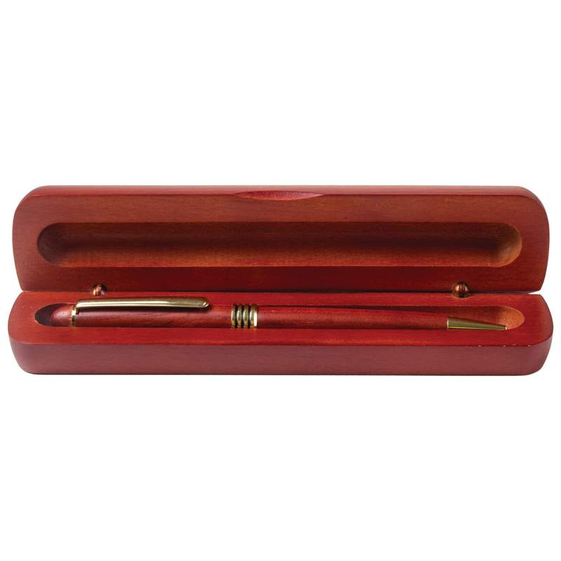 Twist Action Black Ink Ballpoint Pen in a Rosewood Finish Box